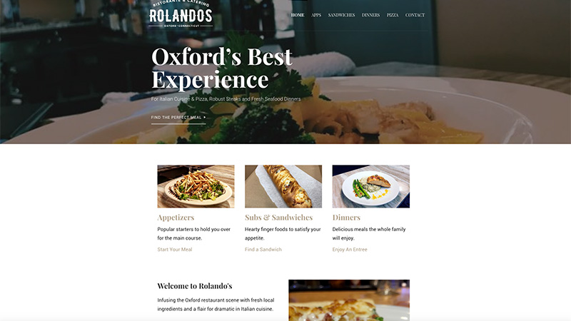 Rolandos restaurant website homepage screenshot