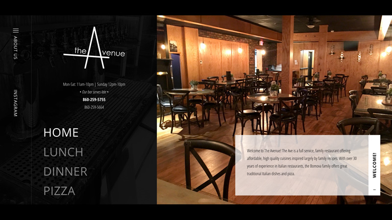 the avenue restaurant website screenshot